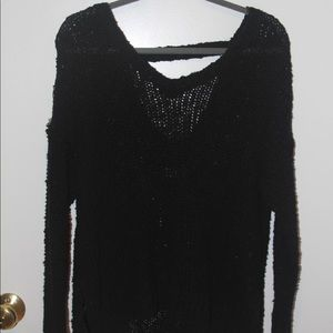 black deep cut sweater